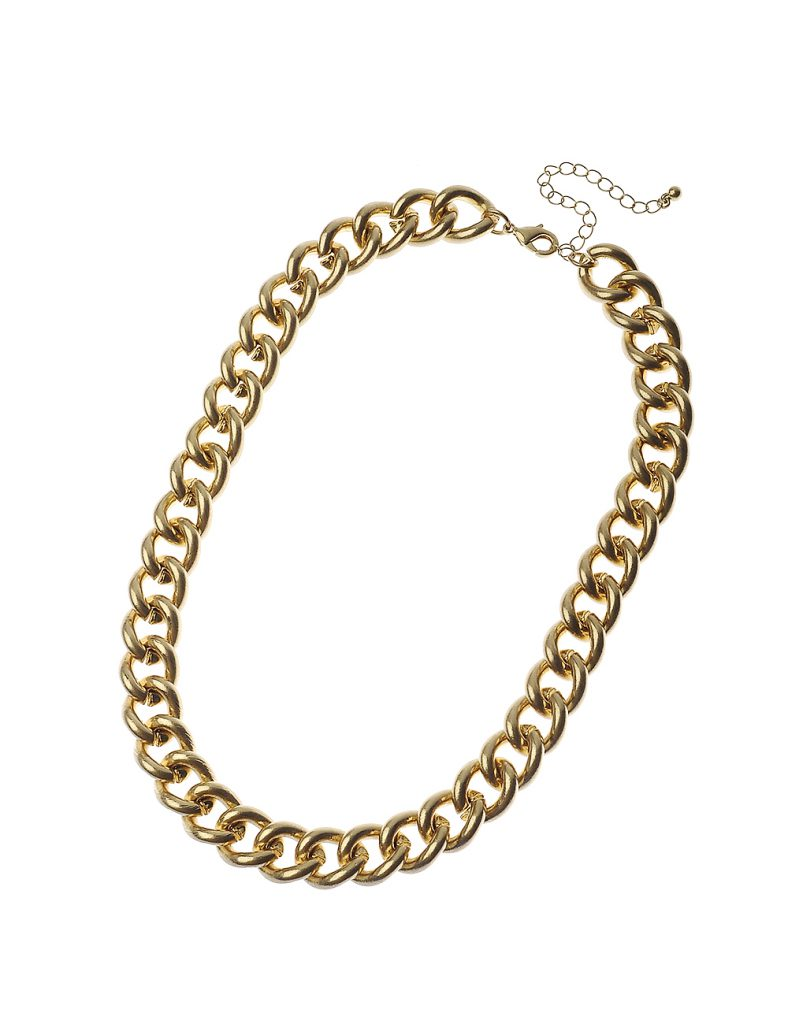 Worn Gold Curb Chain Necklace