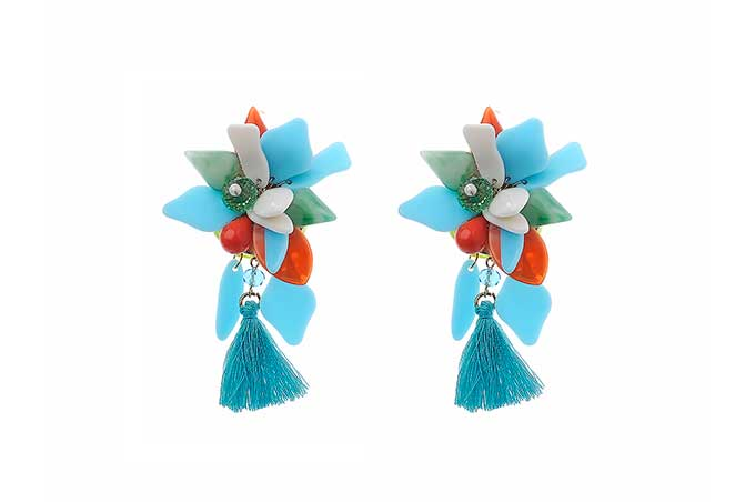 Earrings LF-E051302 - Gold, Turquoise, Perspex-Acrylic