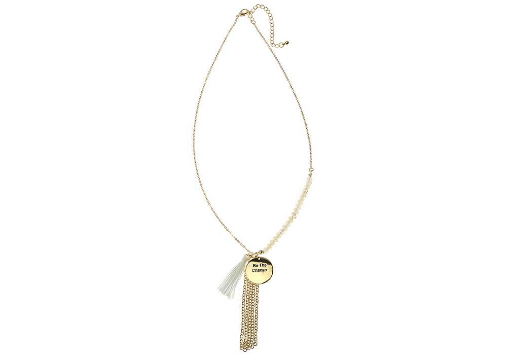 """Sentiments Necklace """"Be the change"""""""