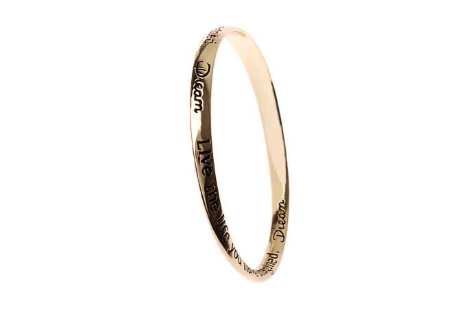 Antic Gold Message Bangle - Dream.. Live The Life You Have Imagined.