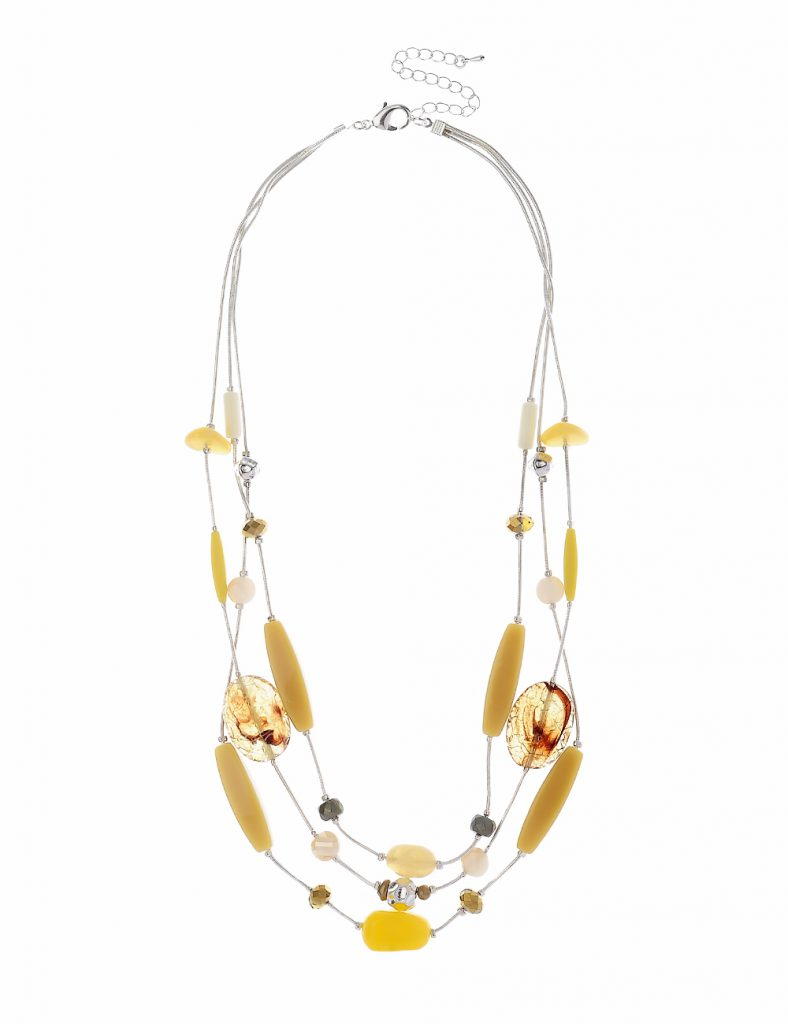 3 Rows Silver Necklace With Yellow Tone Beads