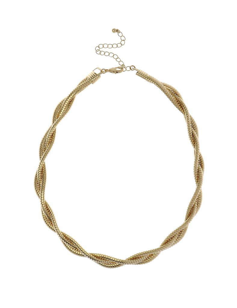 Worn Gold Braided Chain Collar Necklace