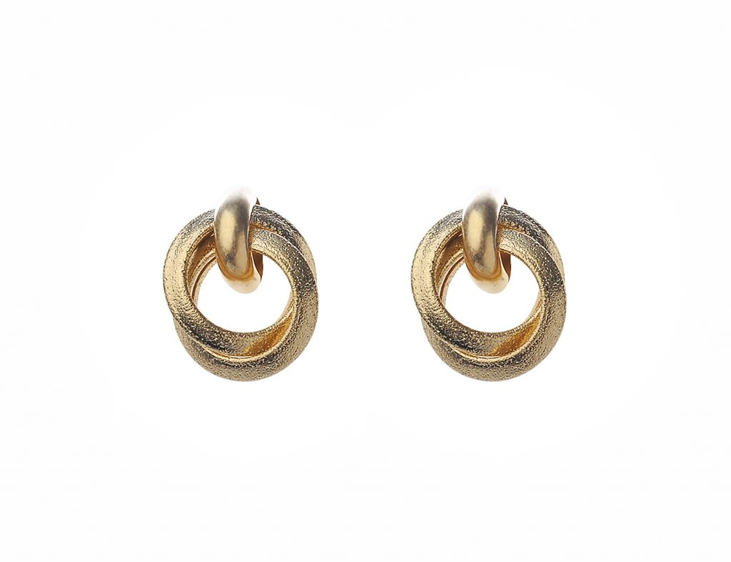 Matt Silver Twist Hoop Earring