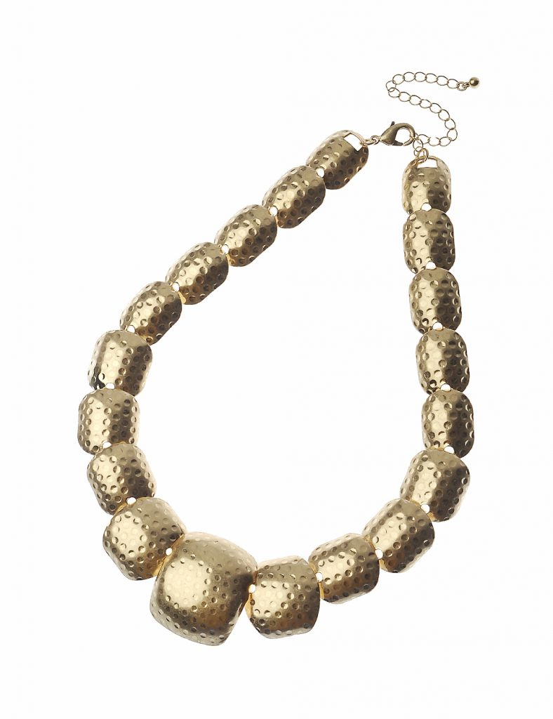Hammered Worn Gold Squares Necklace