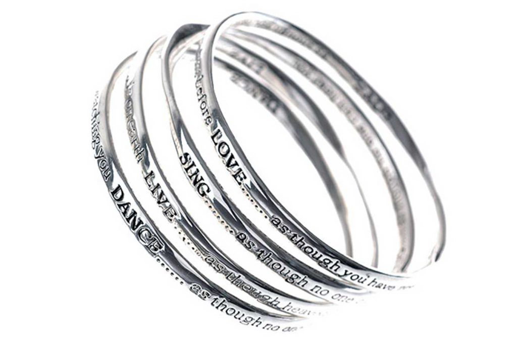 Set Of 4 Silver Message Bangle - LOVE, SING LIVE, DANCE