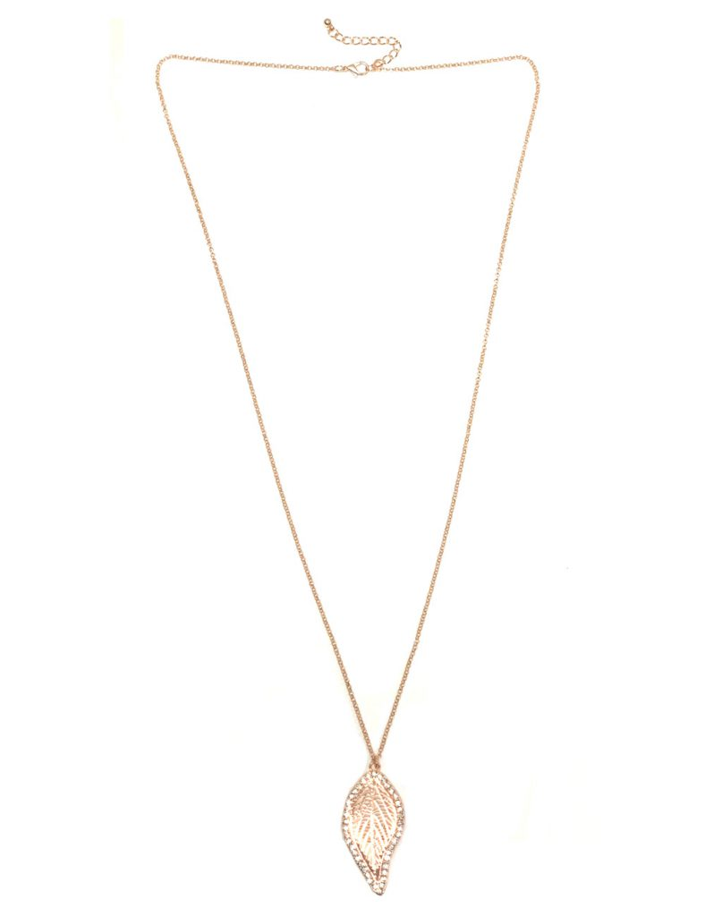 Lt Rose Gold Leaf Pendant With Crystal Stone Necklace