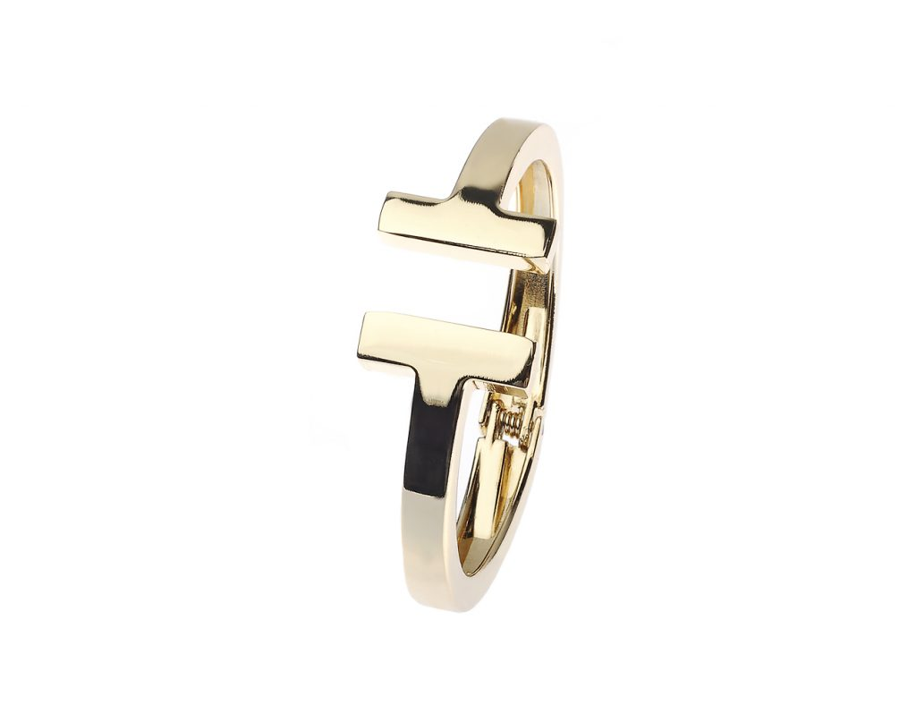 Gold Brass Hinged T-Cube Design Bangle
