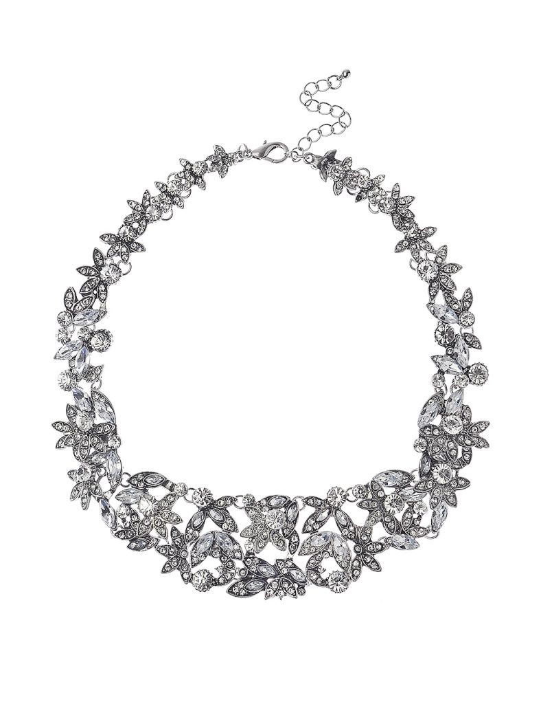 Antic Silver Crystal Flowers Necklace
