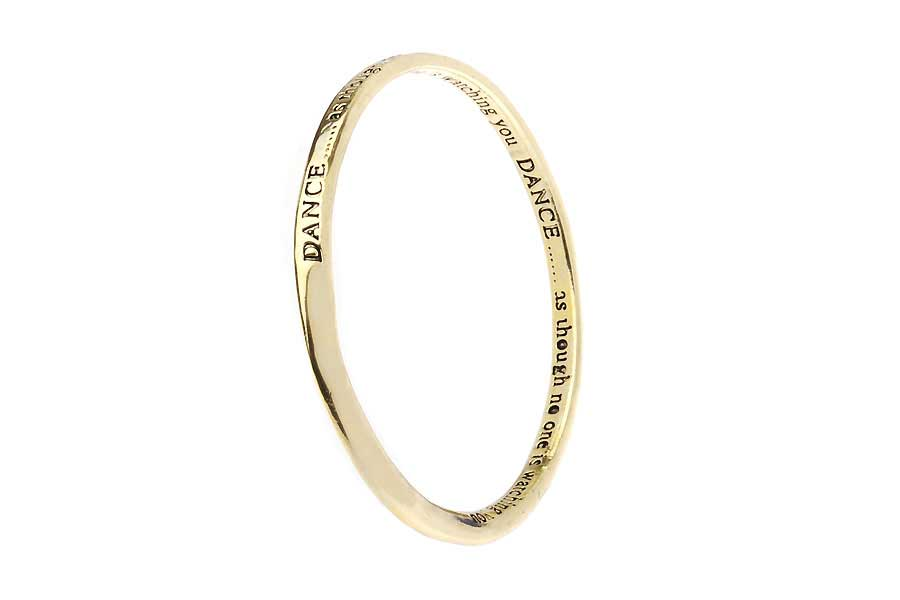 Antic Gold Message Bangle - DANCE… as though no one is watching you..
