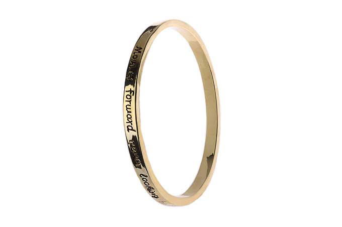 Gold Message Bangle - Moving forward never looking back