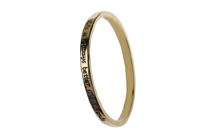 Gold Message Bangle - Life is always better with a smile