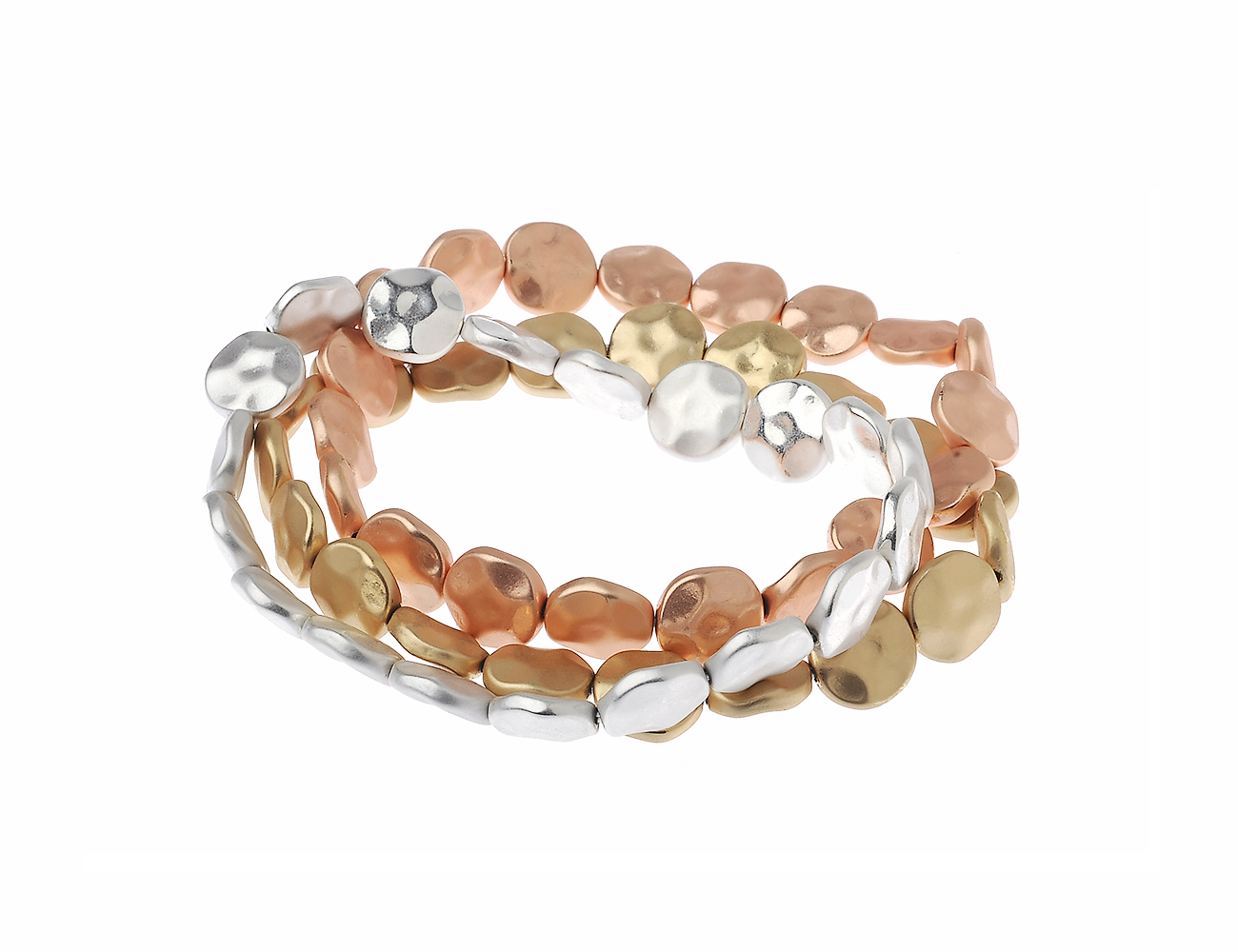 TRIPLE SET OF HAMMERED SILVER, GOLD AND ROSE GOLD COIN STRETCH BRACELETS
