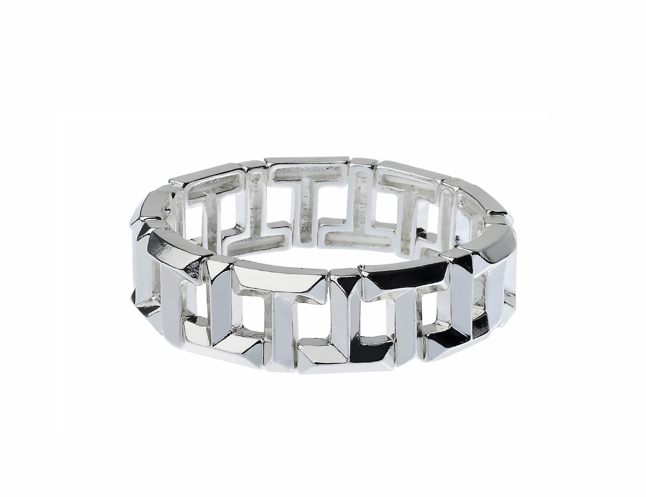 Shiny Silver T Stretch Bracelet