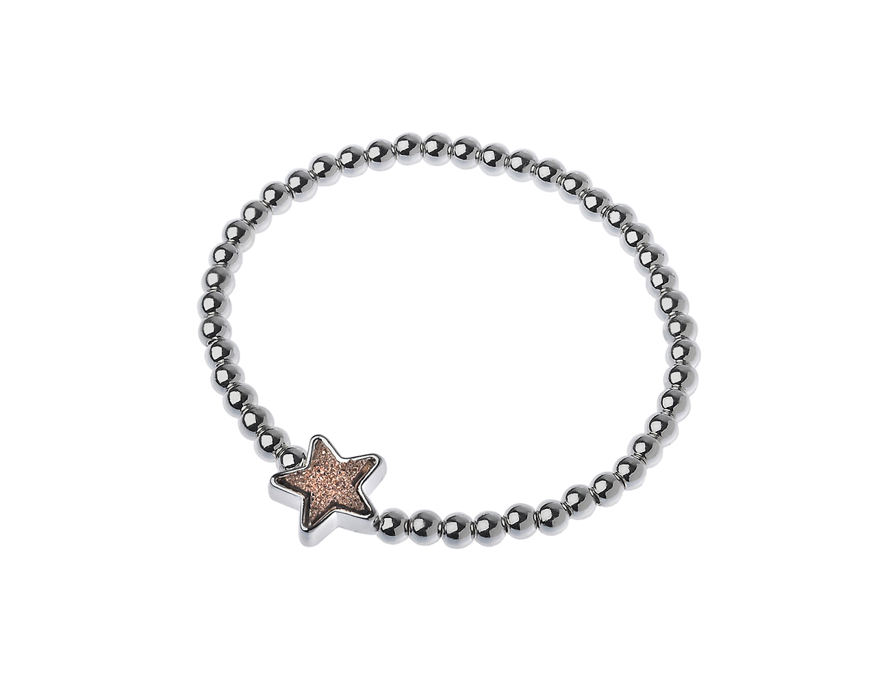 Silver Brass Bead Stretch Druzy Star Bracelet