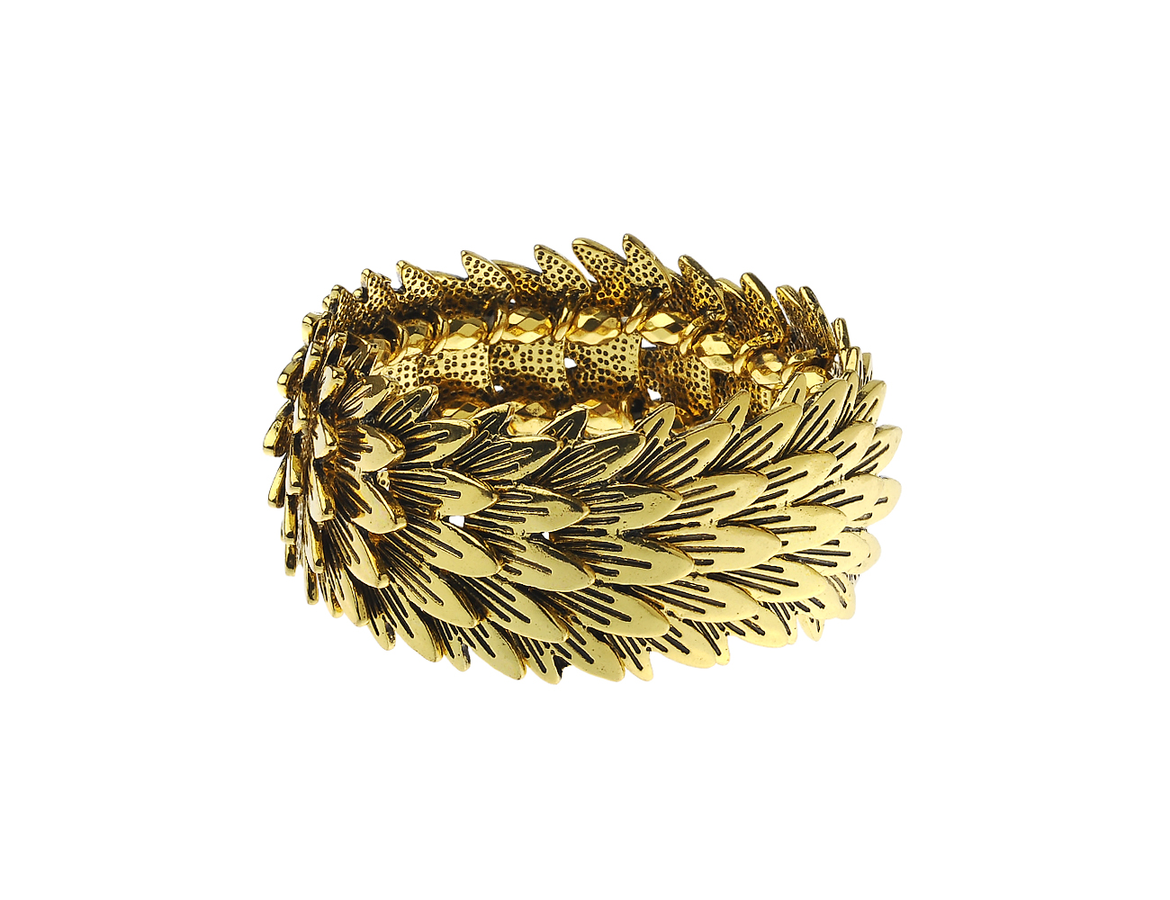 Antic Gold Overlapping Leaf Bracelet