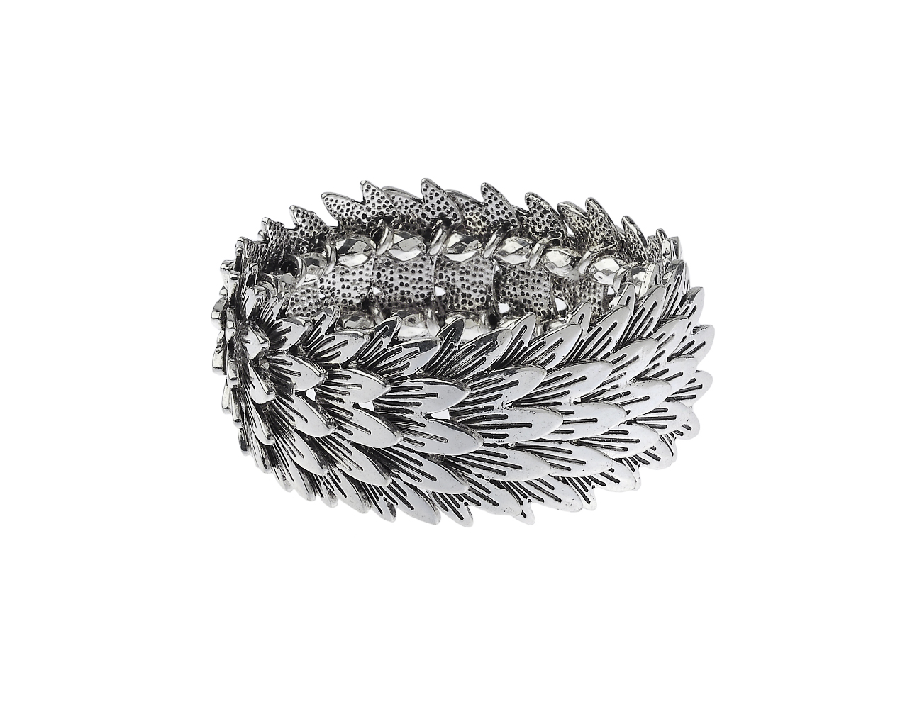 Antic Silver Overlapping Leaf Bracelet