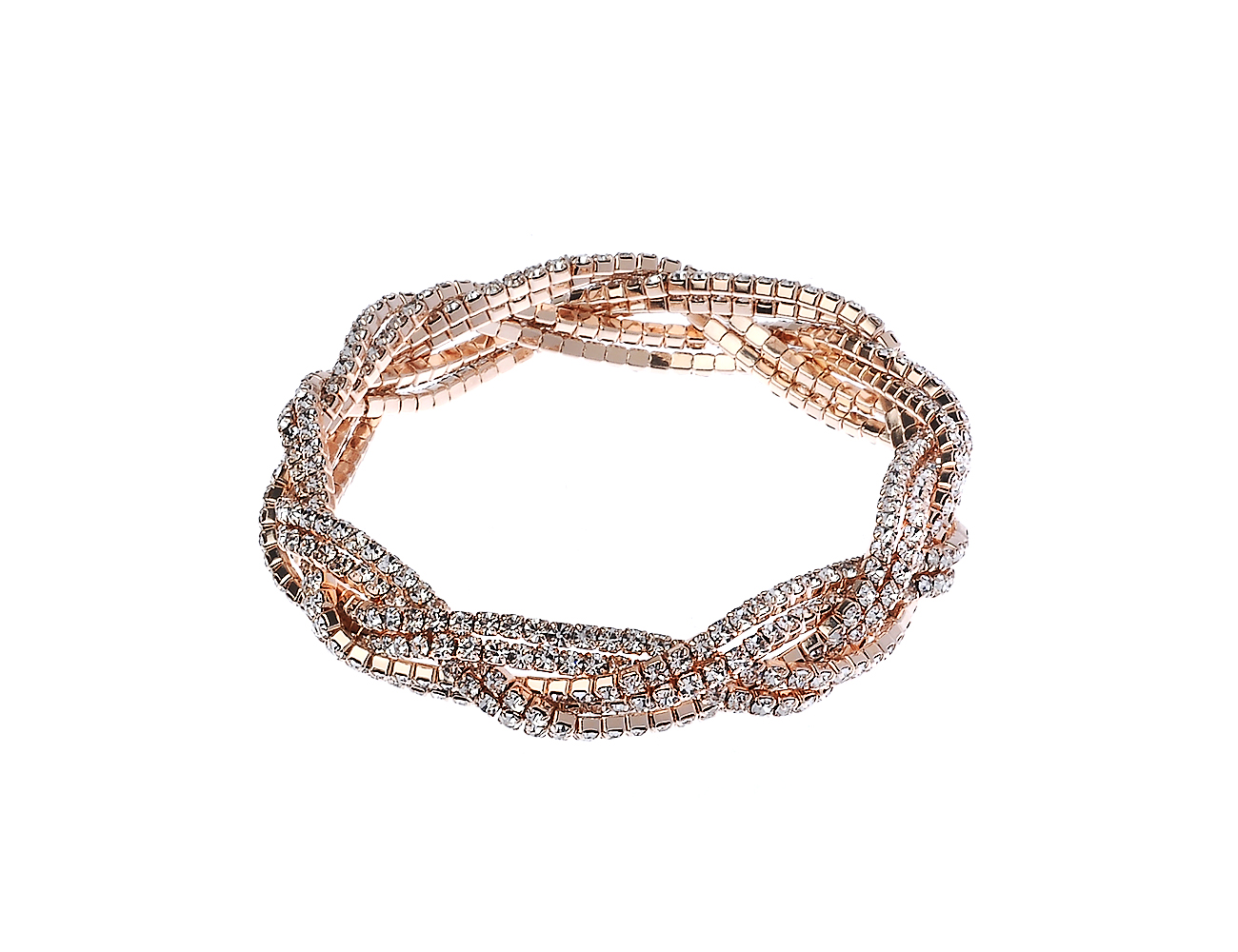 Rose Gold Twisted Cup Chain Bracelet With Crystal Stones