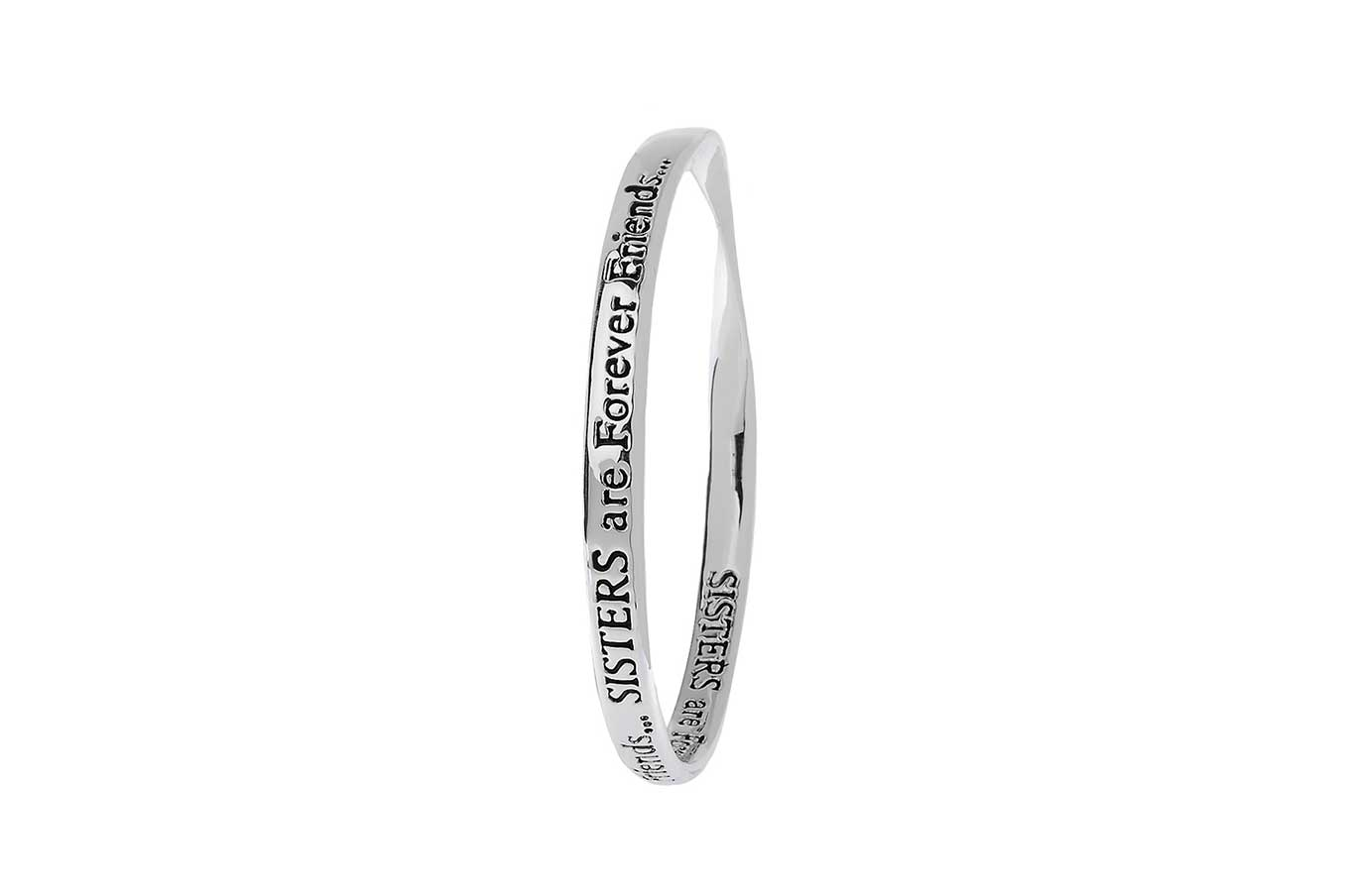 Silver Message Bangle - SISTERS are Forever Friends…