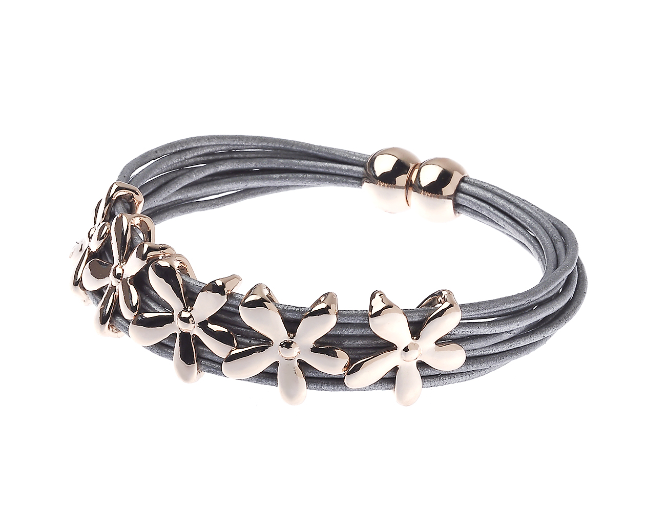 Multi Leather Cord Bracelet With Rose Gold Daisy Flowers