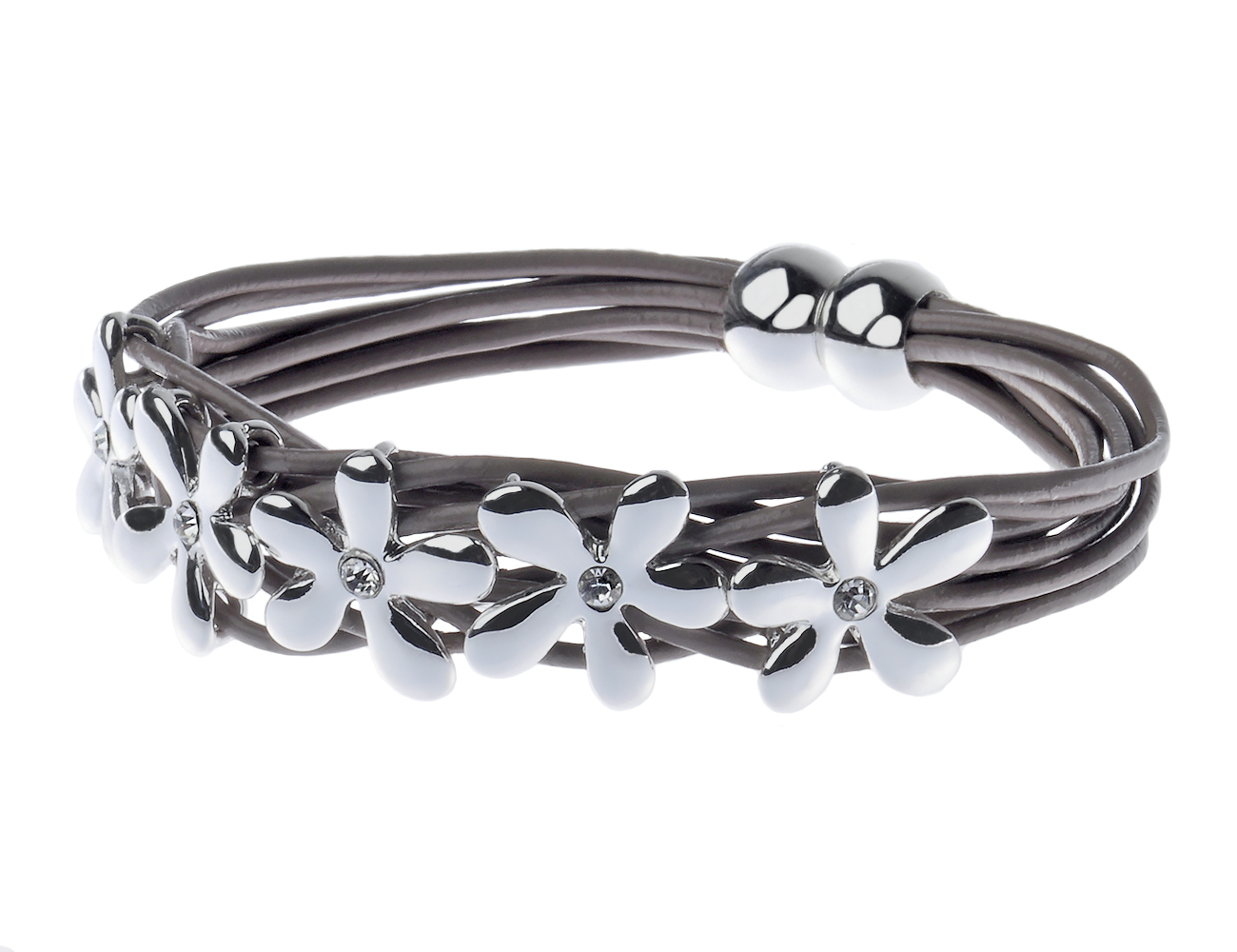 Multi Leather Cord Bracelet with Silver Flowers