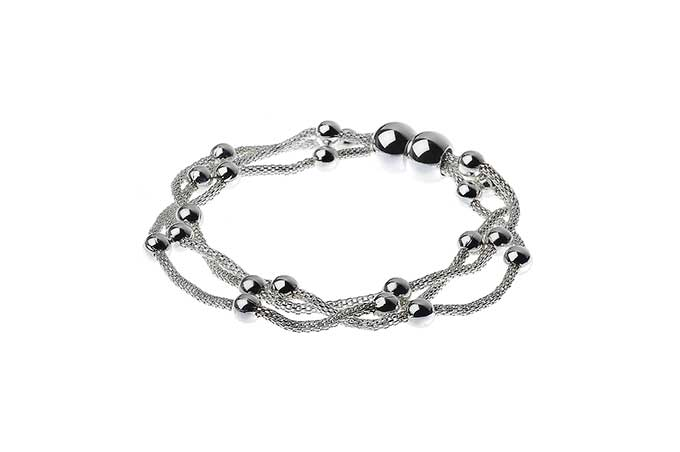3 Rows Magnetic Silver Chains Bracelet with Beads