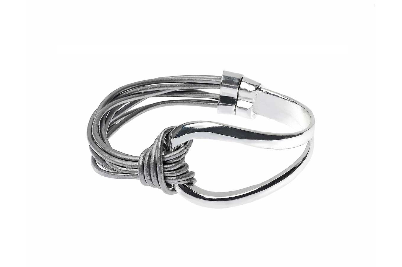 Grey multi-cord Magnetic Bracelet with Silver Buckle