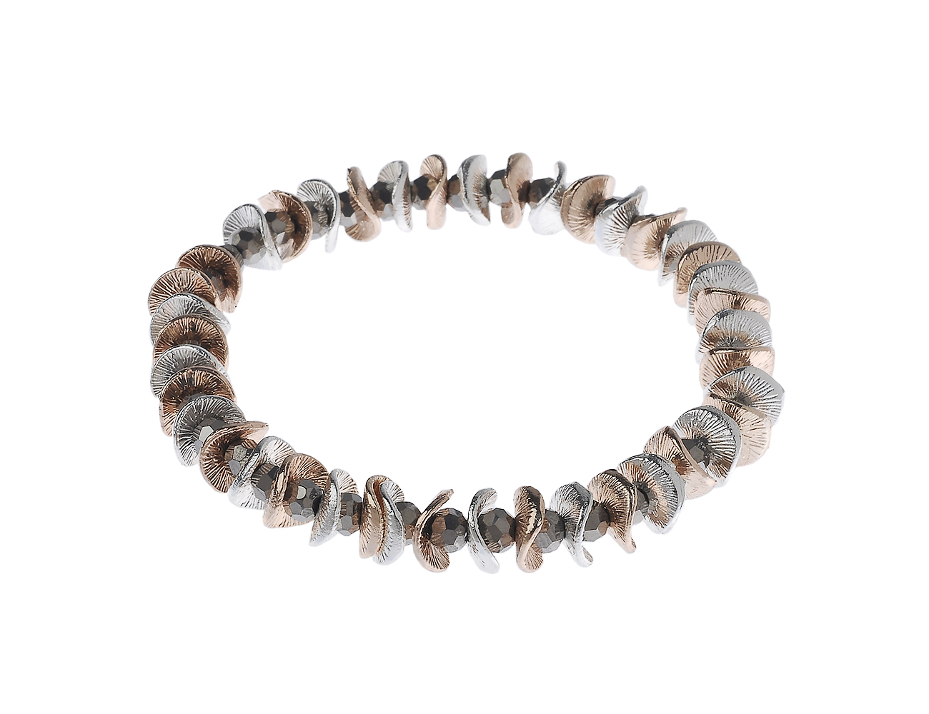 Stretch Bracelet with Mixed Metal Curved Circle and Crystal Beads
