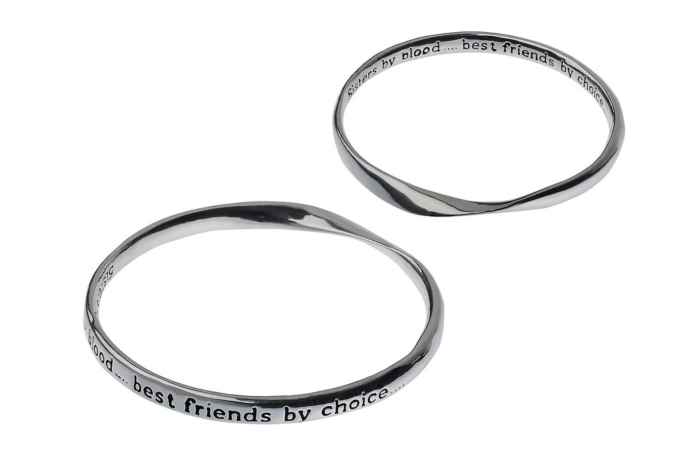 Silver Message Bangle - Sisters by blood....best friends by choice…