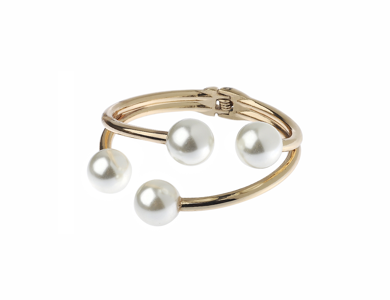 Gold Tone Imitation Pearl Hinged Cuff Bracelet