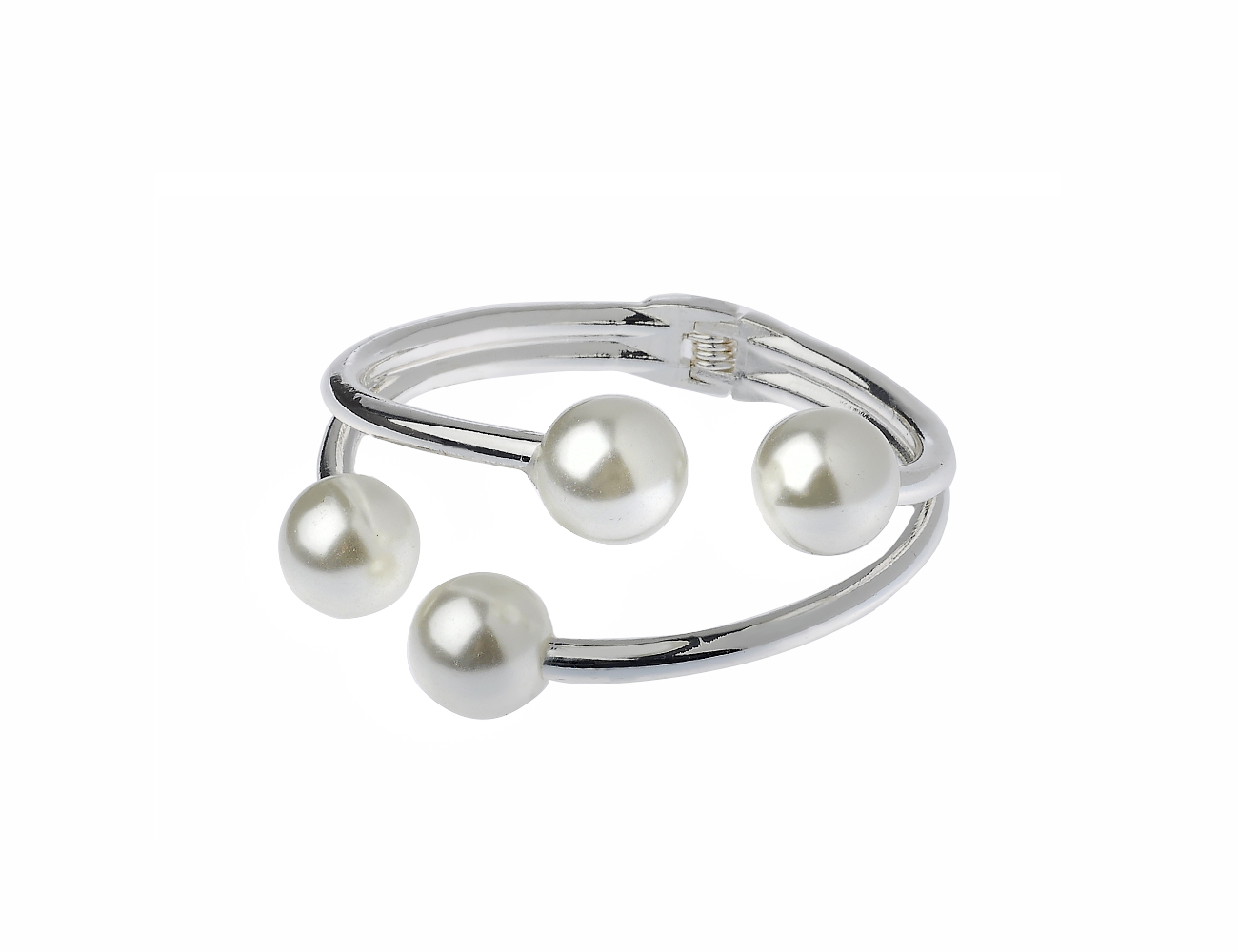 Silver Tone Imitation Pearl Hinged Cuff Bracelet