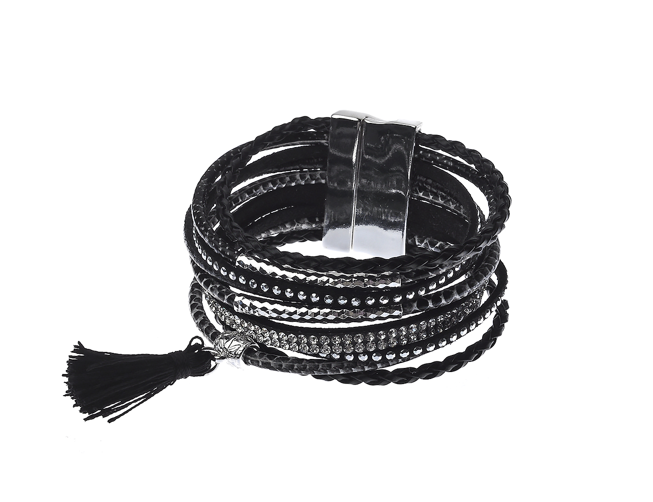 Multi Strand Leather Bracelet with Rhinestones, Silver bar & tassel
