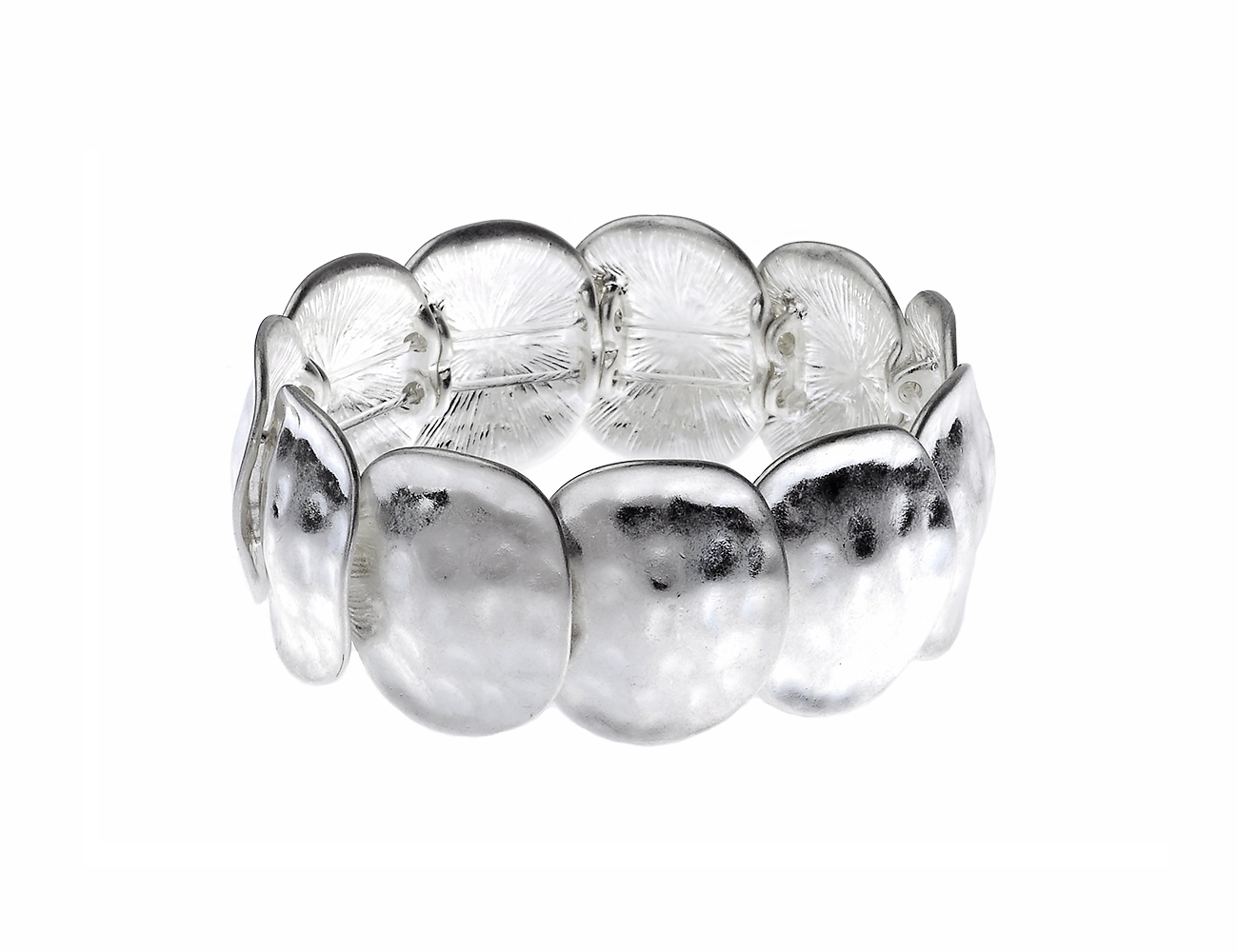 Chunky Worn Silver Bracelet with Hammered Rounded Shapes Design