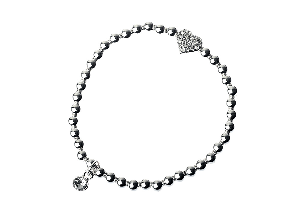 Silver Beaded stretch Bracelet with Crystal Heart