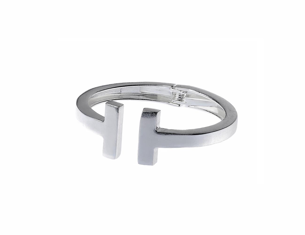 Worm Silver Hinged T-Cube Design Bangle