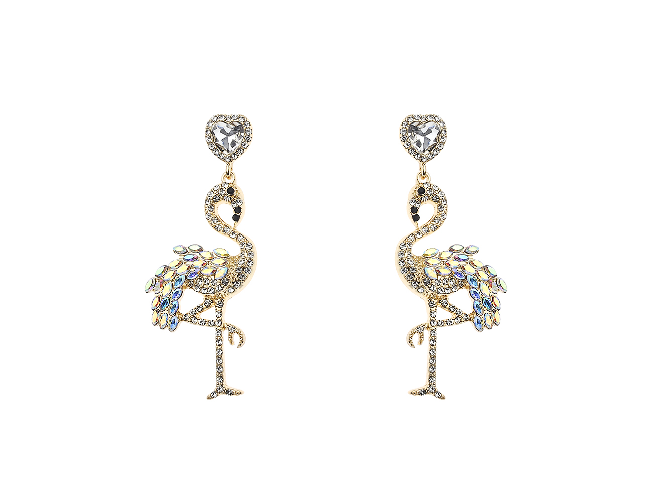 Drop Crystal Flamingo Earring