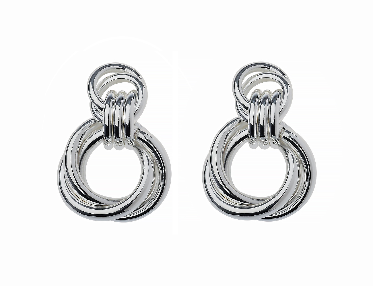 Shiny Silver Knot Earring