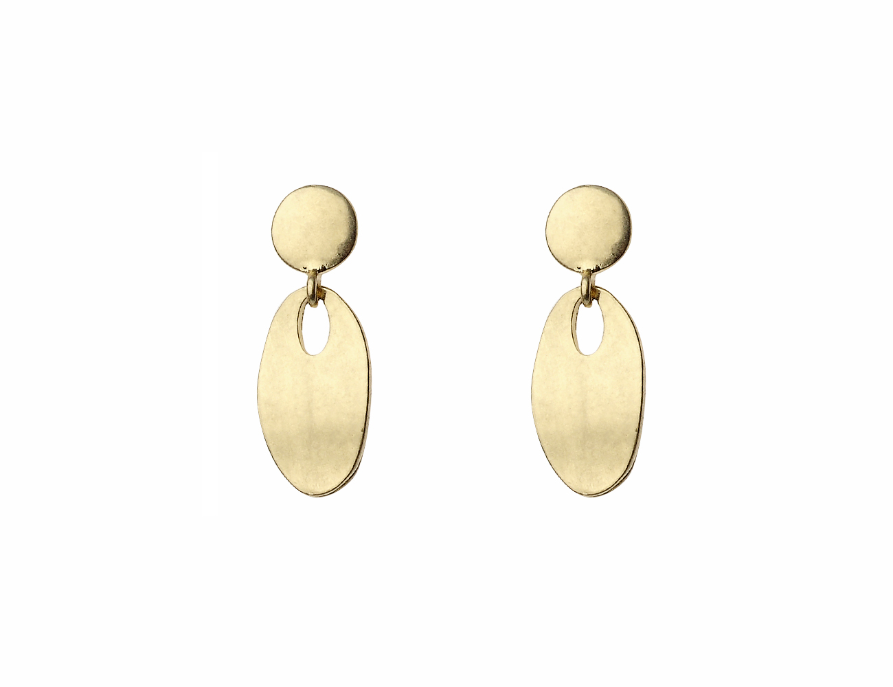 Worn Gold Oval Drop Earring