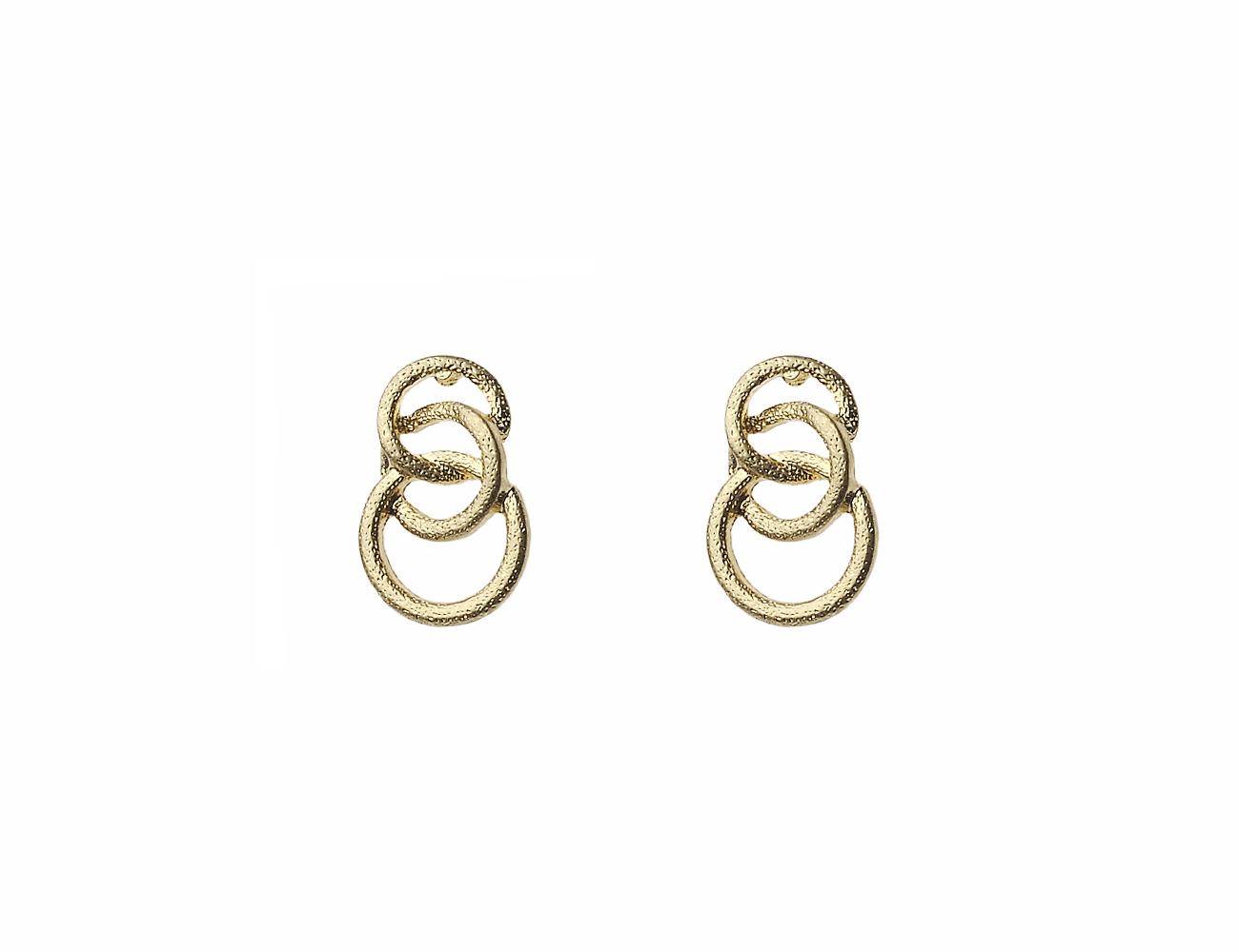 Worn Gold Textured 3 Small Hoop Earring