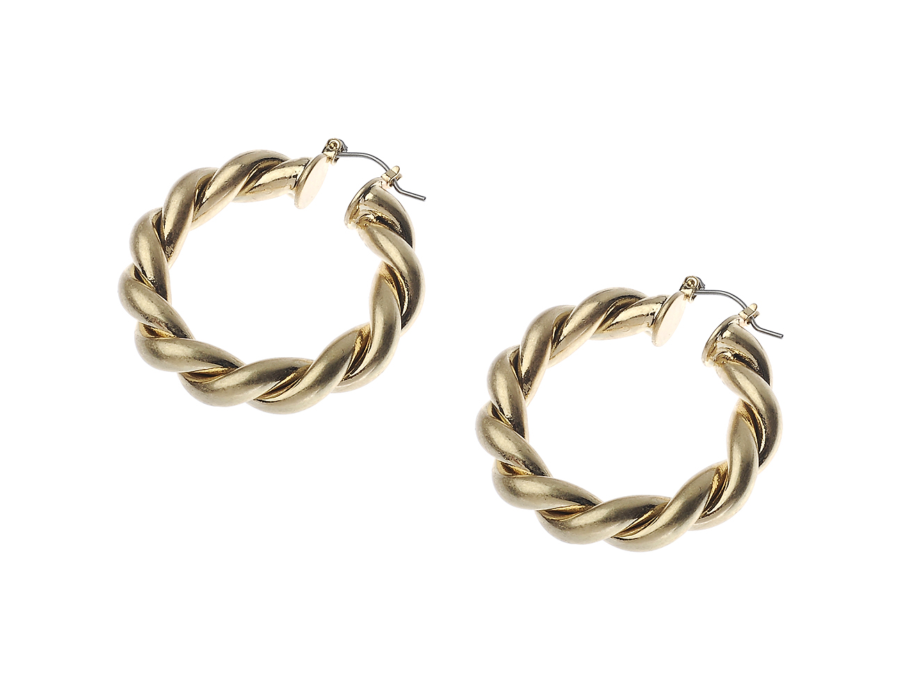 Worn Gold Twist Hoop Earring