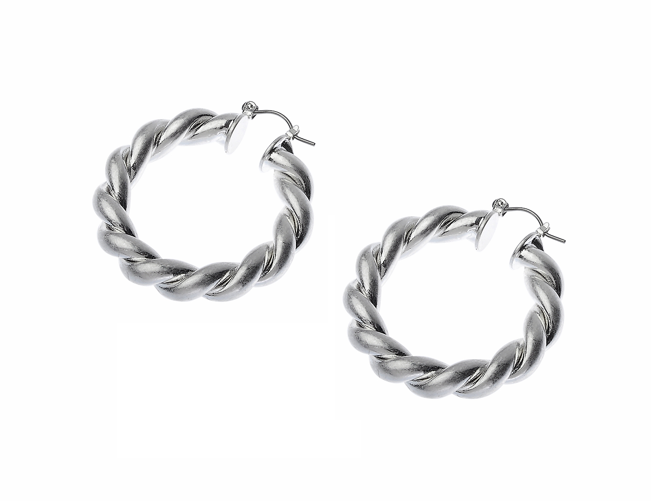 Worn Silver Twist Hoop Earring