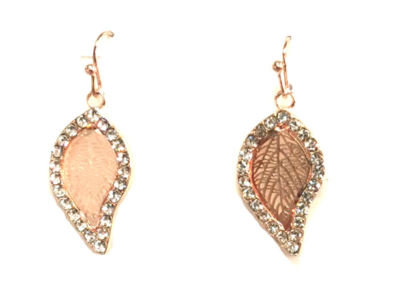 Lt Rose Gold With Crystal Stone Earrings