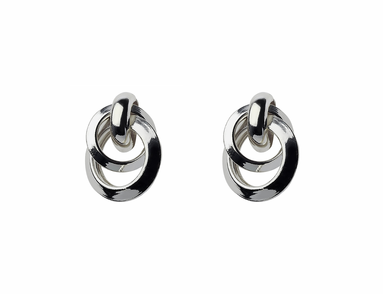 Shiny Silver mix size circle pipe joined earring