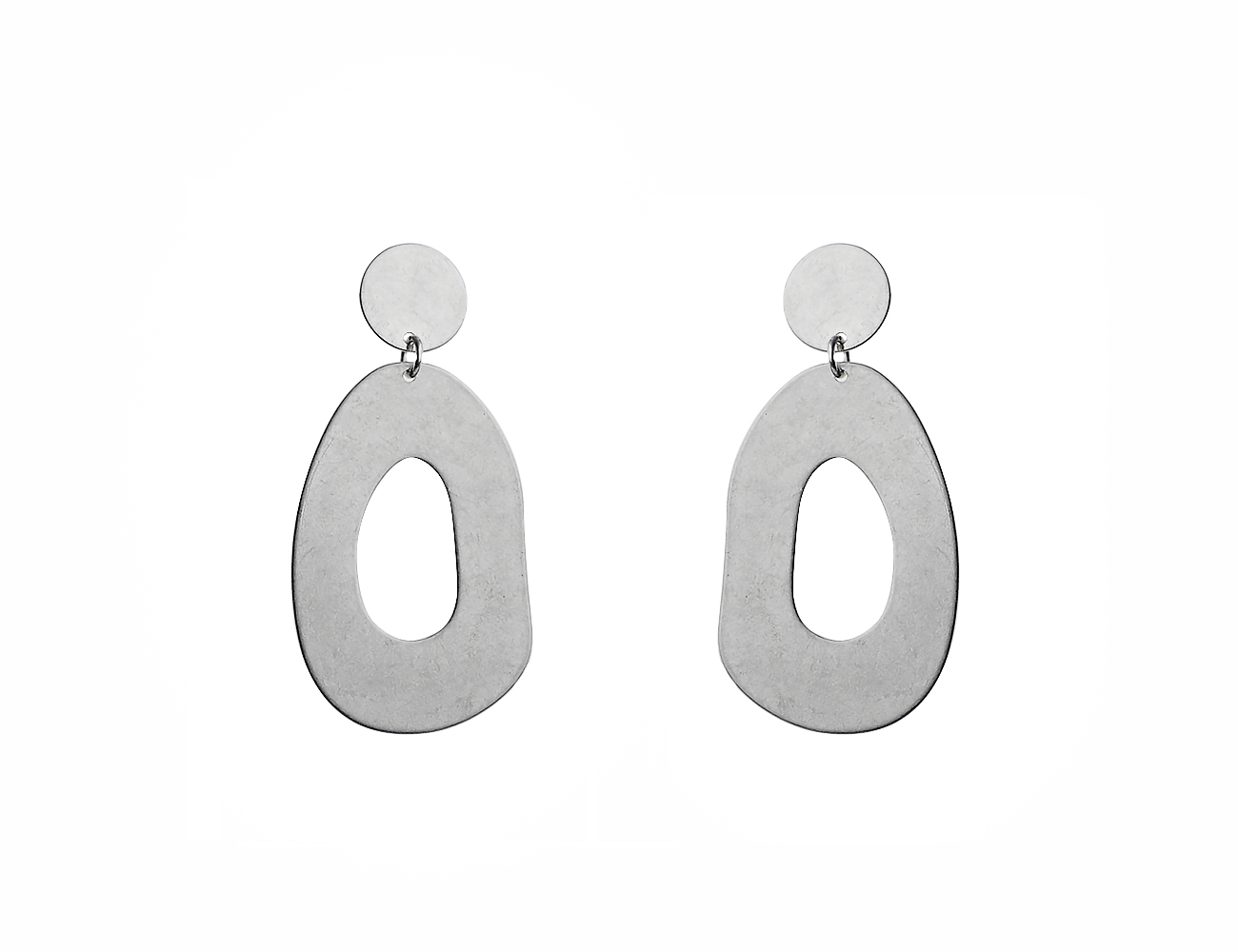 Worn Silver Abstract Oval Drop Earring