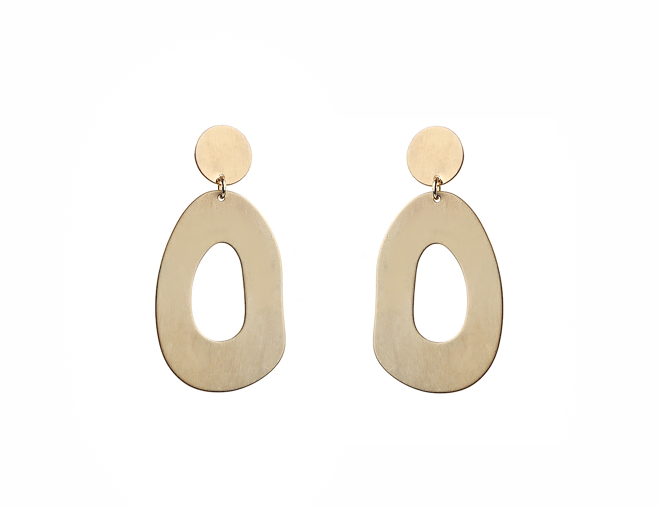 Worn Gold Abstract Oval Drop Earring