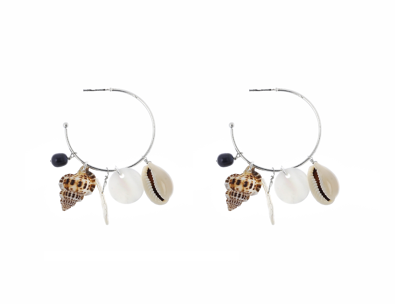 Shell drop with MOP Hoop Earring