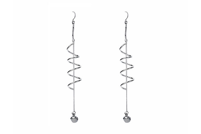 Drop Shiny Silver Twirl Earring