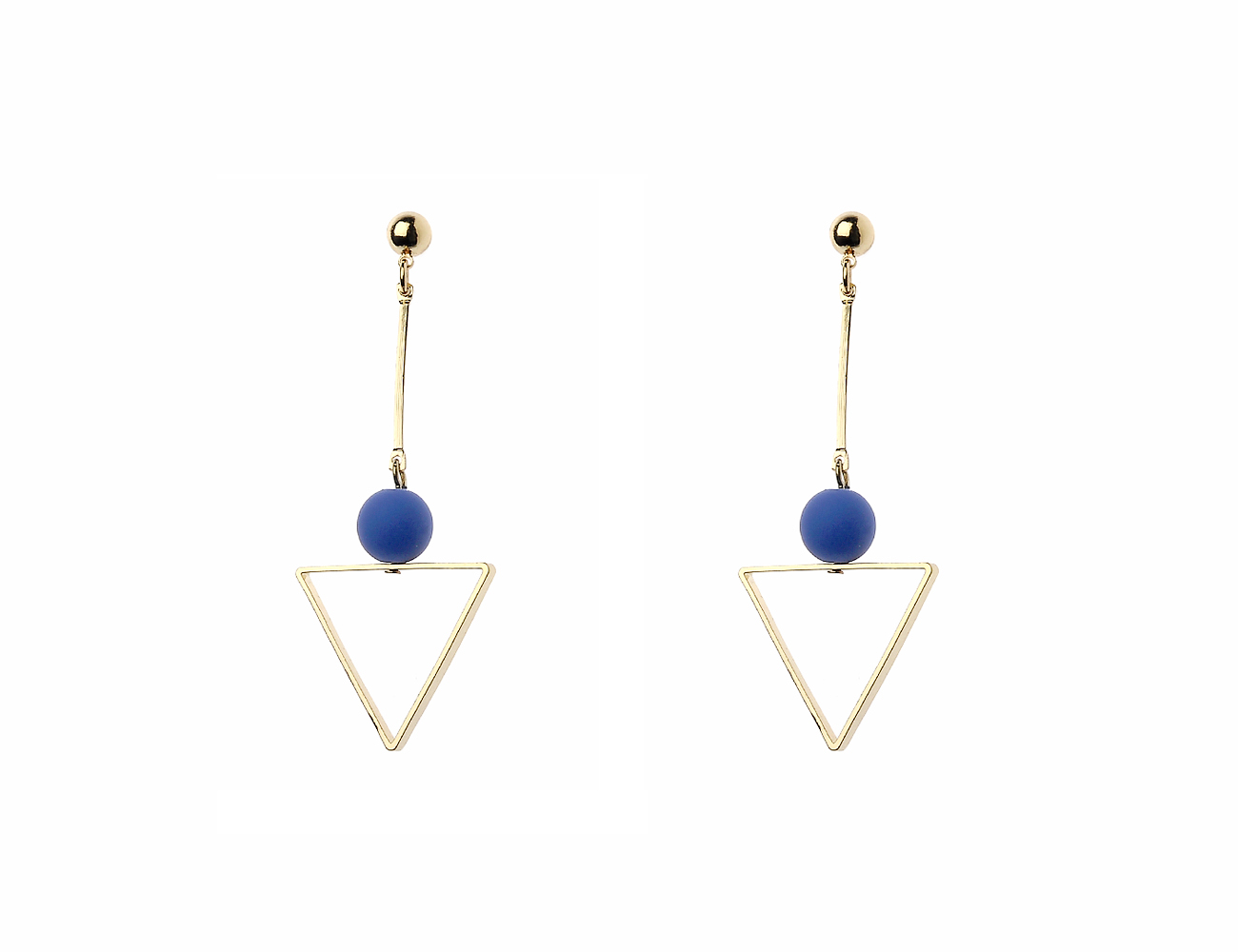 Gold Stick Earrings With Drop Triangle And Blue Bead