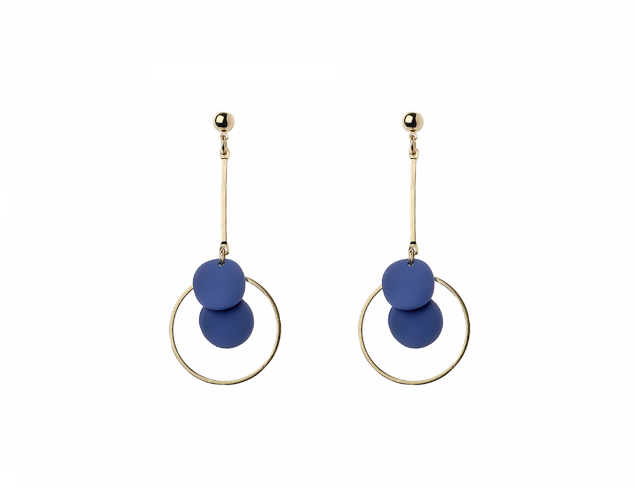 Gold Stick And Circle Earring With Wavy Blue Disc Details