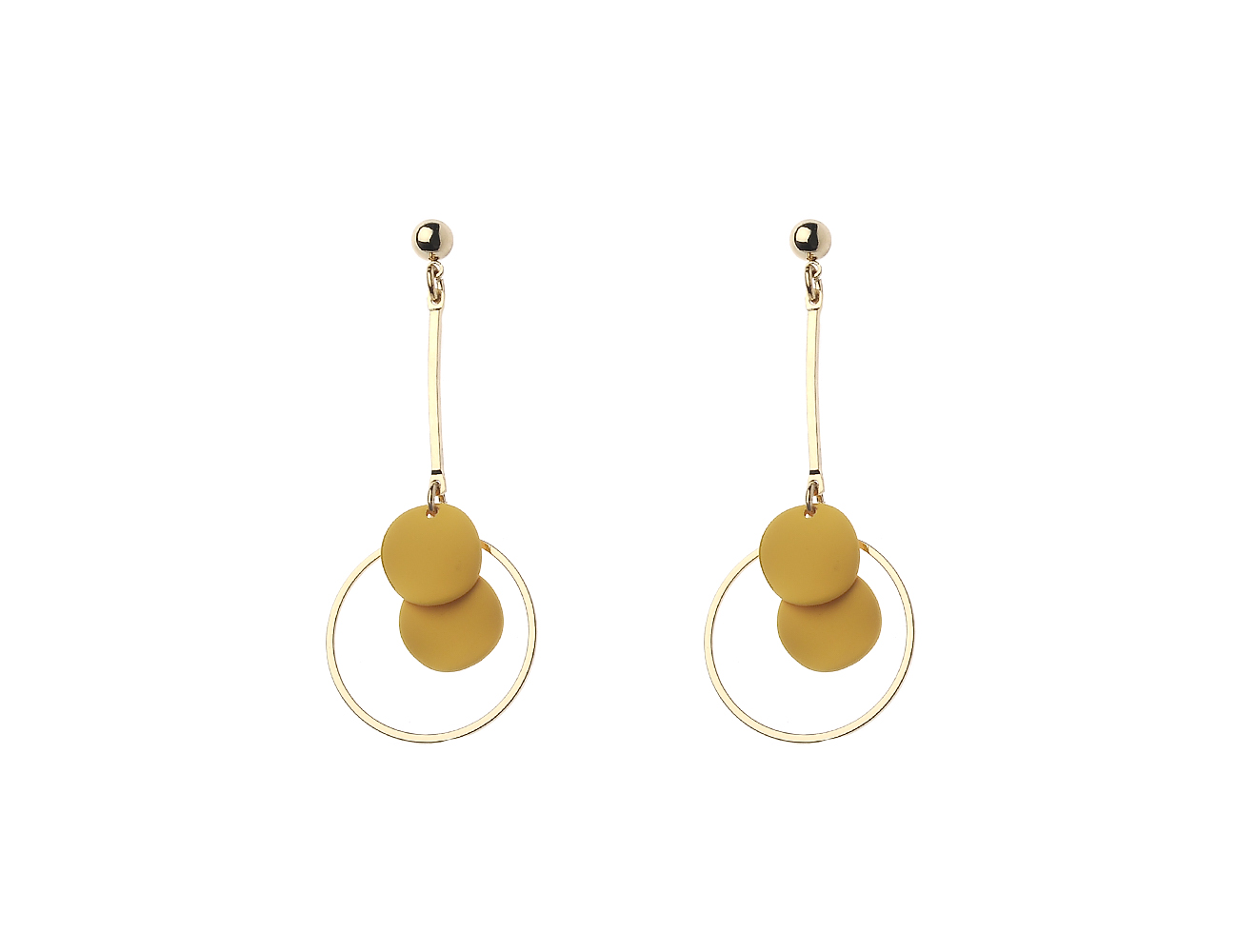 Gold Stick And Circle Earring With Wavy Yellow Disc Details