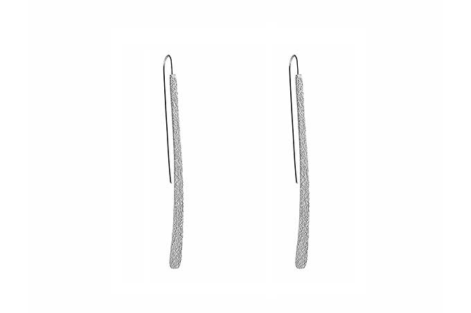 Long Curved  Silver Earrings